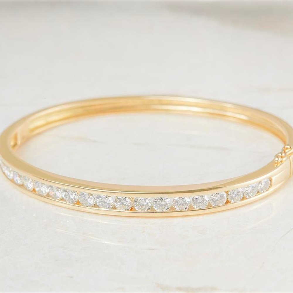 David M Robinson 18k Yellow Gold Channel Set 5.00ct Diamond Bangle