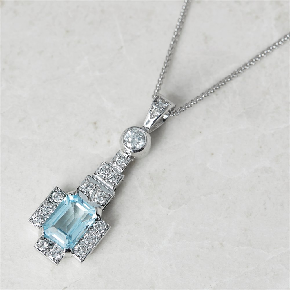 Topaz  18k White Gold Blue Topaz & Diamond Necklace