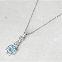 18k White Gold Blue Topaz & Diamond Necklace