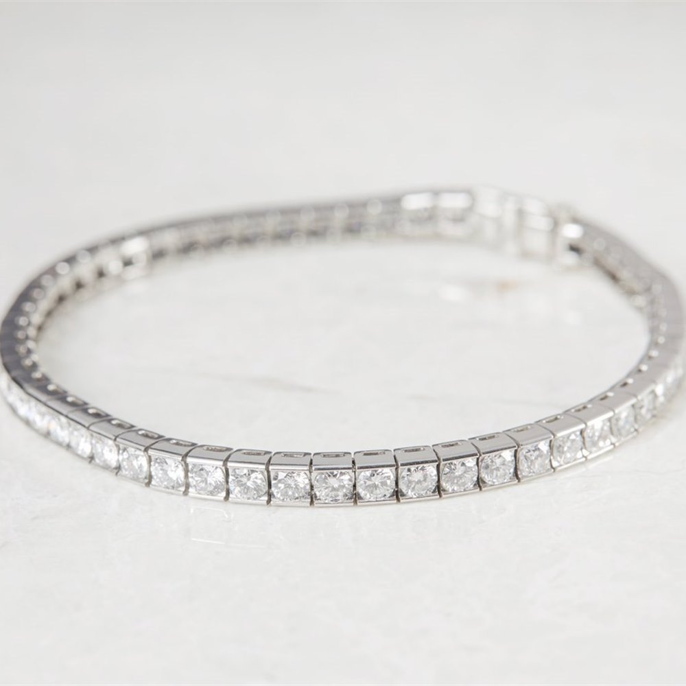 platinum round brilliant cut diamond tennis bracelet j414 second hand jewellery. Black Bedroom Furniture Sets. Home Design Ideas