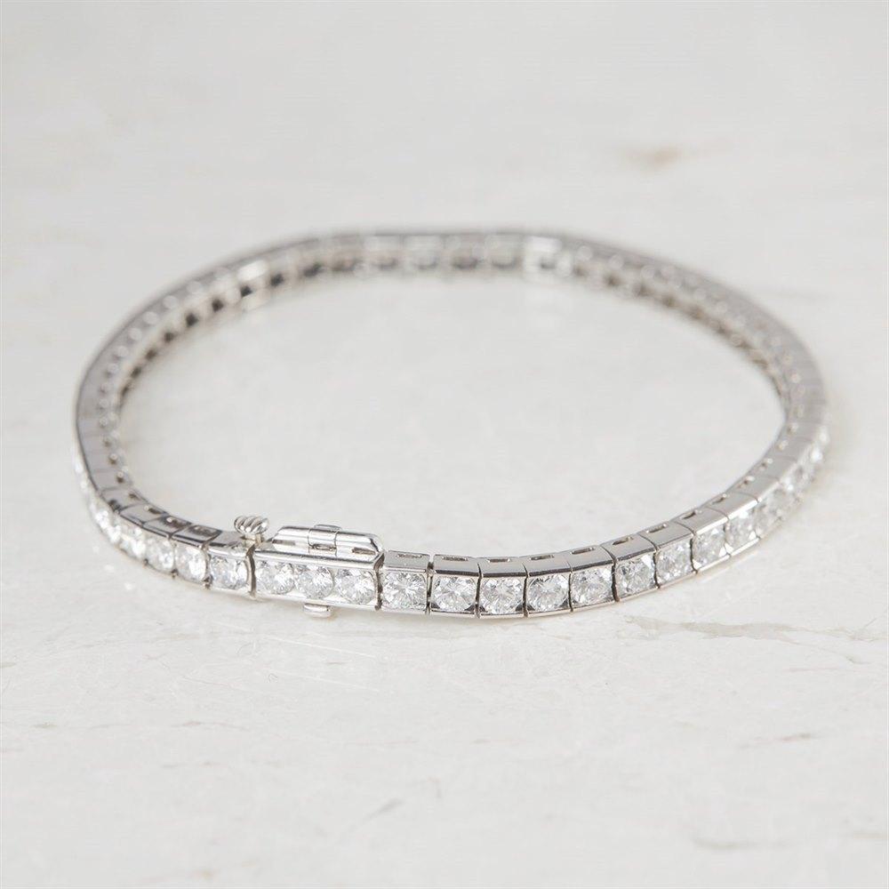 Platinum - total weight 20.07 grams  Platinum Round Brilliant Cut 7.54ct Diamond Tennis Bracelet