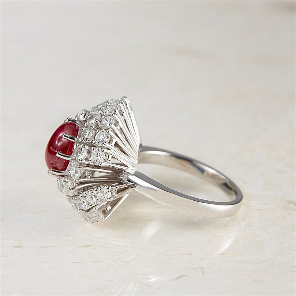 18k White Gold - 9.64 grams Vintage 18k White Gold Cabochon 2.00ct Ruby & 2.48ct Diamond Cocktail Ring