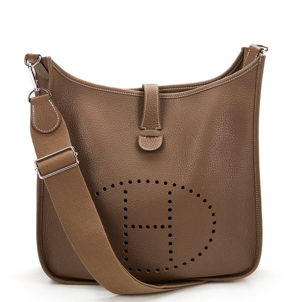 9b46a18bf734 Hermès Etoupe Togo Leather Evelyne III GM