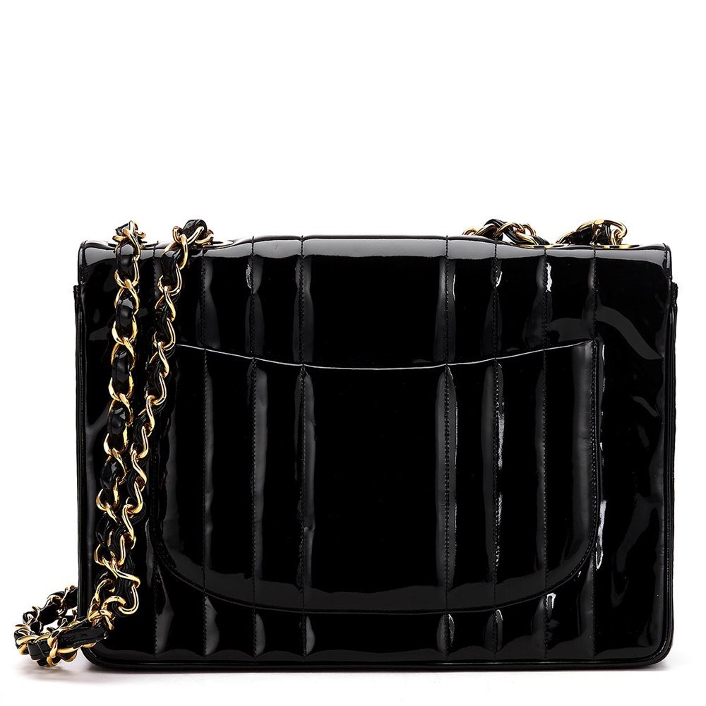 d99098c5eb26ac Chanel Black Vertical Quilted Patent Leather Vintage Jumbo XL Flap Bag