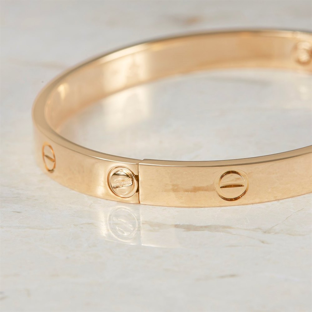 af3e75a0c0c90 18k Yellow Gold Cartier Love Bangle Size 17 Model Ref: B6035517 with Box  and Screw Driver