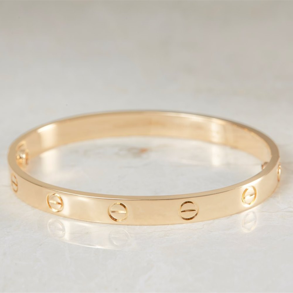 fba538b29dab Cartier 18k Yellow Gold Cartier Love Bangle Size 17 Model Ref  B6035517  with Box and