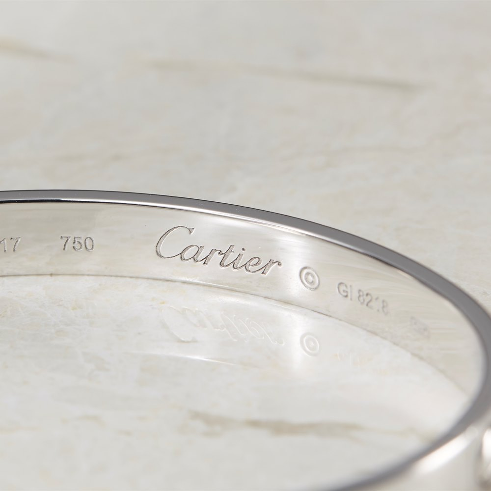 Cartier 18k White Gold Cartier Love Bangle Size 17 Model Ref: B6035417 with Box and Screw Driver