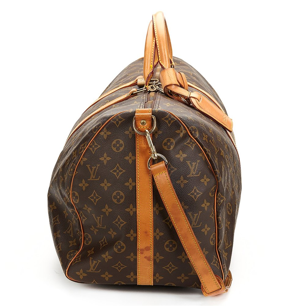 bc4d0cce8a57 Louis Vuitton Brown Classic Monogram Keepall Vintage Bandouliere 55