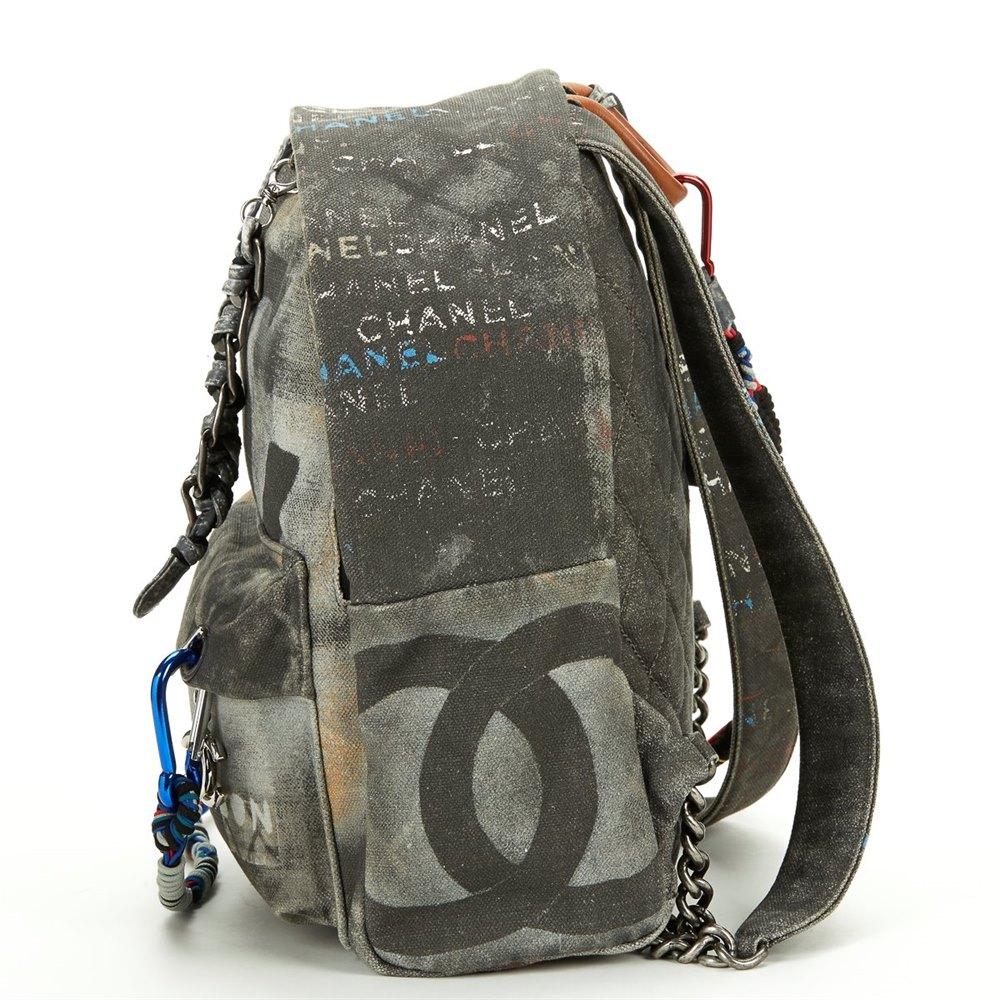 Chanel Black Canvas Spring 2014  Act 2  Medium Graffiti Backpack 070617aae83