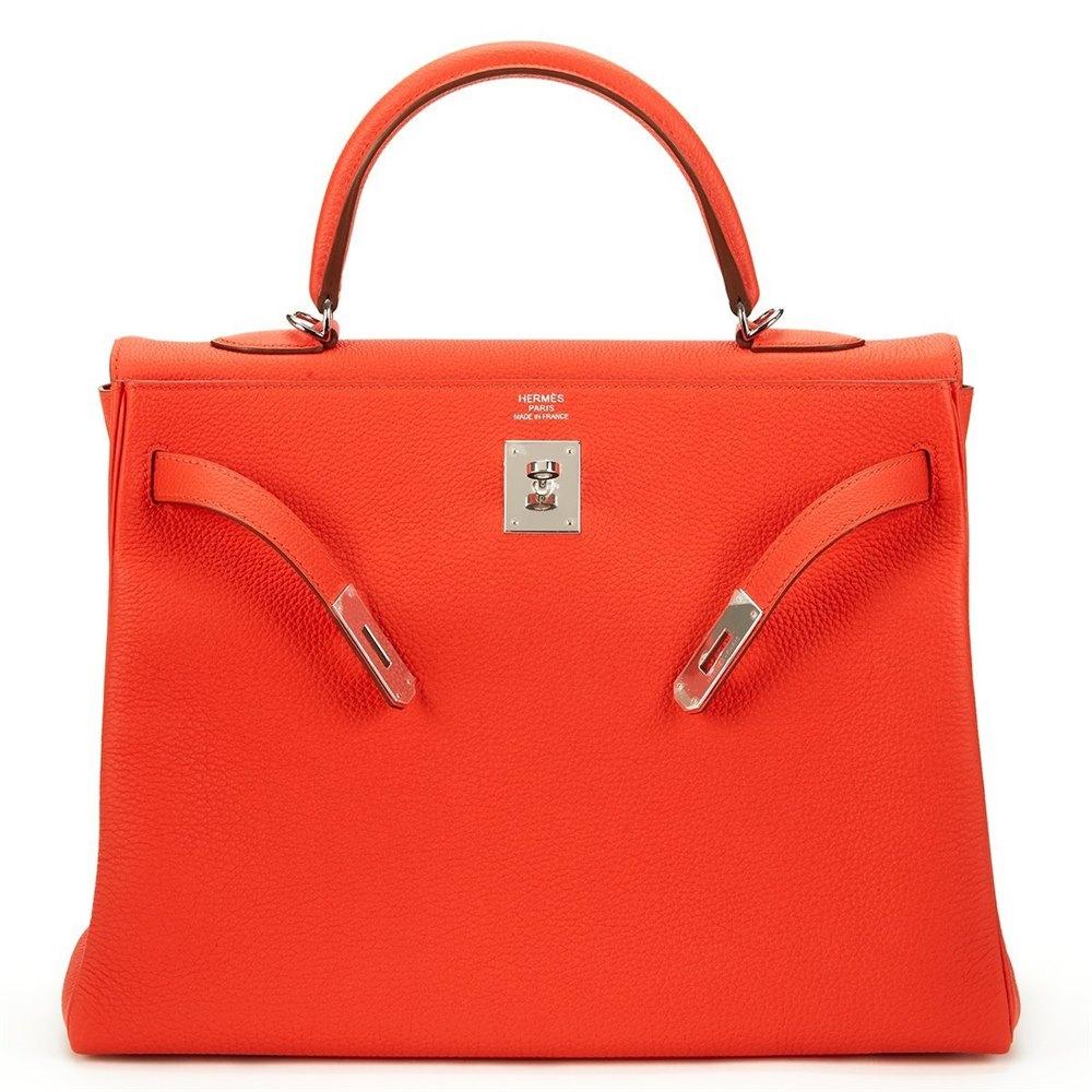 4917fe5c12c Hermès Capucine Orange Togo Leather Kelly 35cm