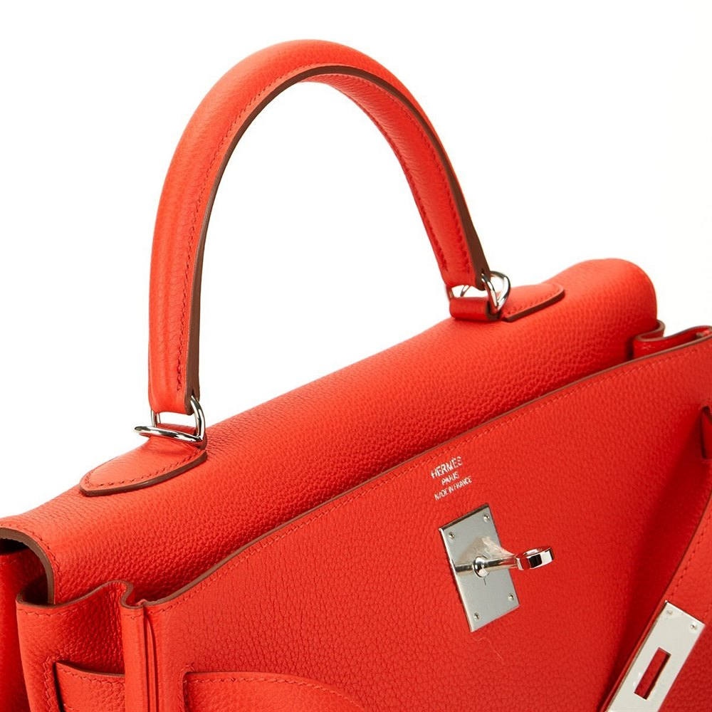 fddc5a214d Hermès Capucine Orange Togo Leather Kelly 35cm