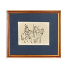 Soldiers On Horseback, Pen And Ink Drawing, 1832