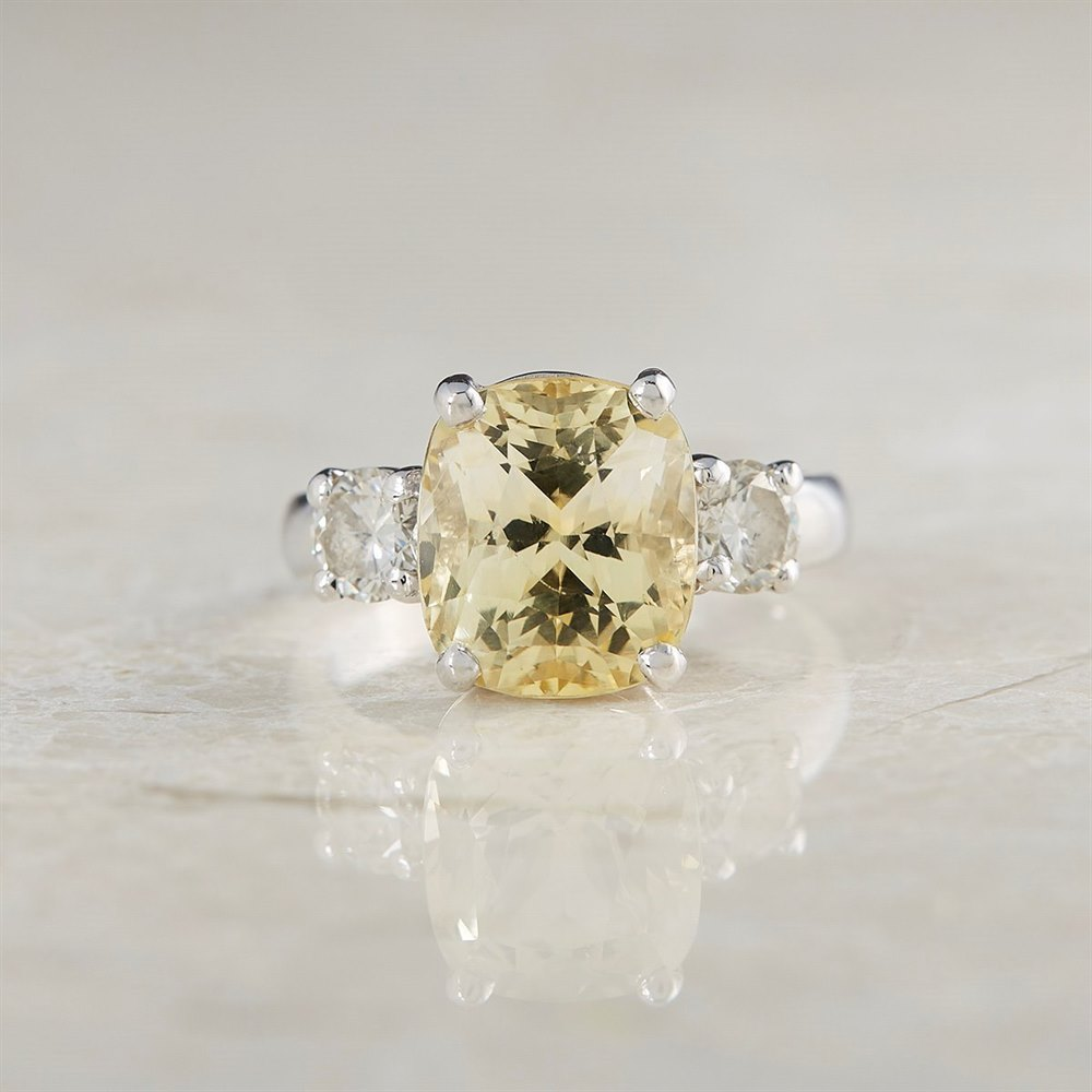 Platinum  Platinum 6.07ct Yellow Sapphire & 0.68ct Diamond Ring