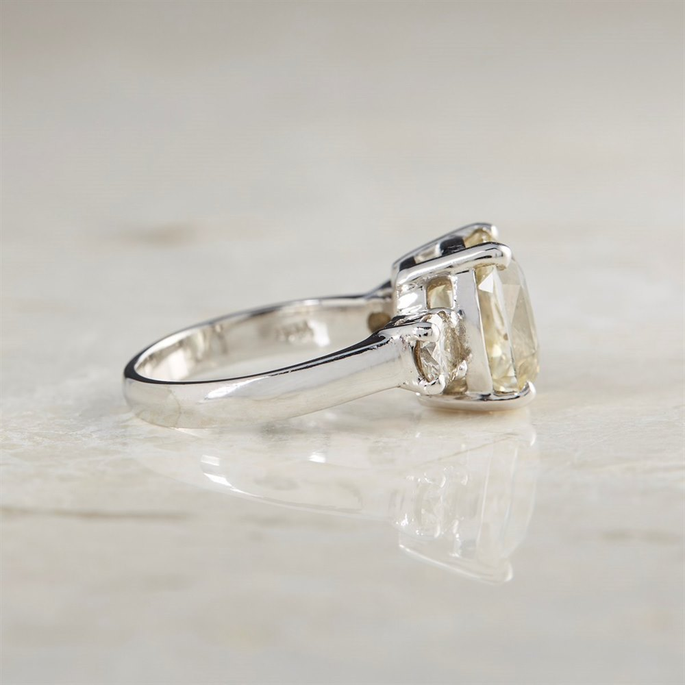 Platinum  Platinum 6.07ct Yellow Sapphire & 0.68ct Diamond Ring