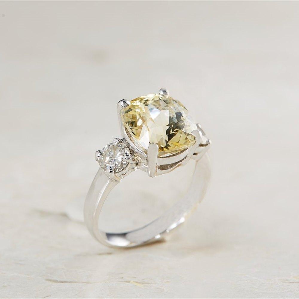 Platinum 6.07ct Yellow Sapphire & 0.68ct Diamond Ring