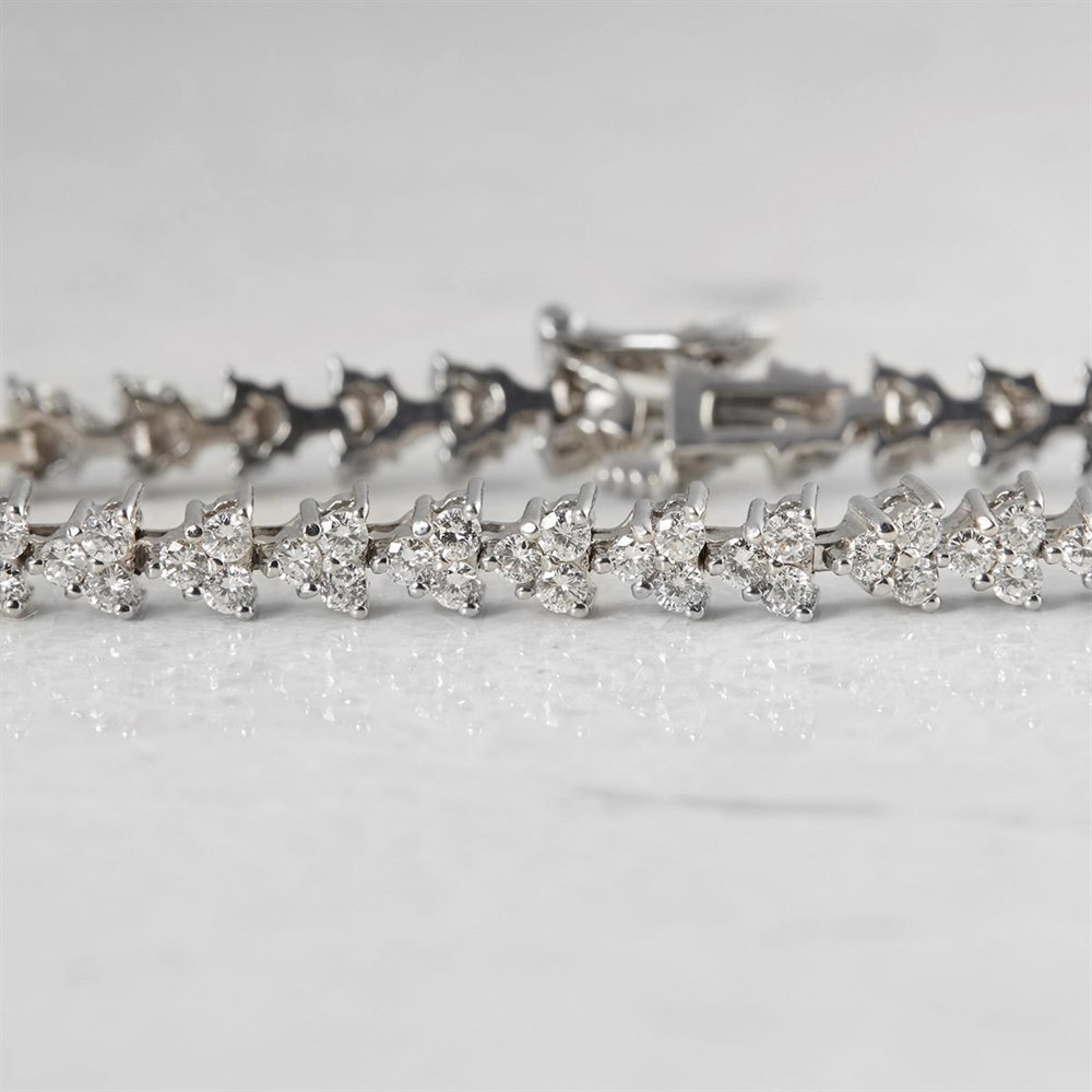 Unbranded 18k White Gold Round Brilliant Cut 3.51ct Diamond Bracelet