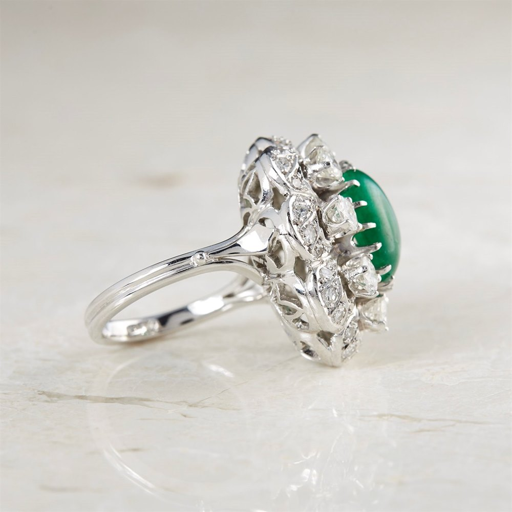 Platinum Platinum Cabochon 4.29ct Emerald & 1.92ct Diamond Cocktail Ring