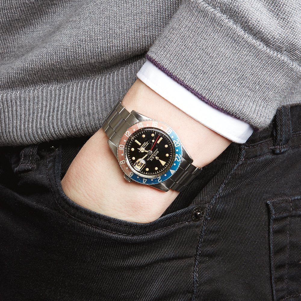 Gmt Master Pepsi With Gloss Gilt Dial Stainless Steel 6542