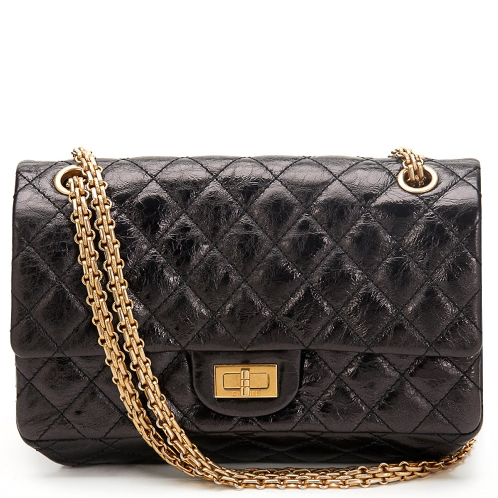 7b02992082ad Chanel Black Quilted Distressed Lambskin 2.55 Reissue Accordion Flap Bag