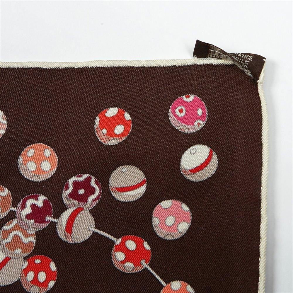 Hermès Dancing Pearls by Virgine Jamin Brown Silk Scarf