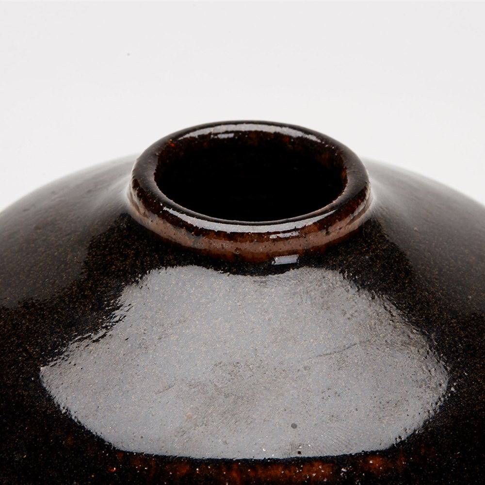 DOMED TENMOKU GLAZED VASE 20TH C. 20th Century