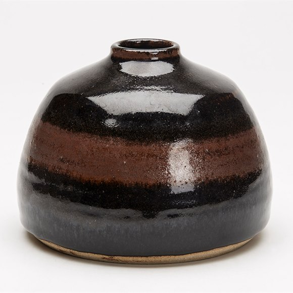 Domed Studio Pottery Tenmoku Glazed Vase 20Th C.