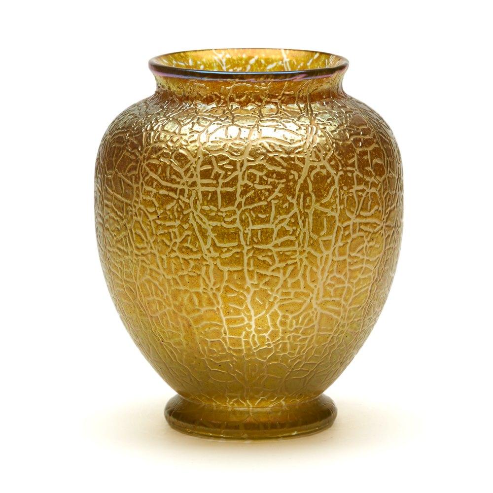 LOETZ ART NOUVEAU GOLDEN CRACKLE FINISH ART GLASS VASE 1910 Circa 1910
