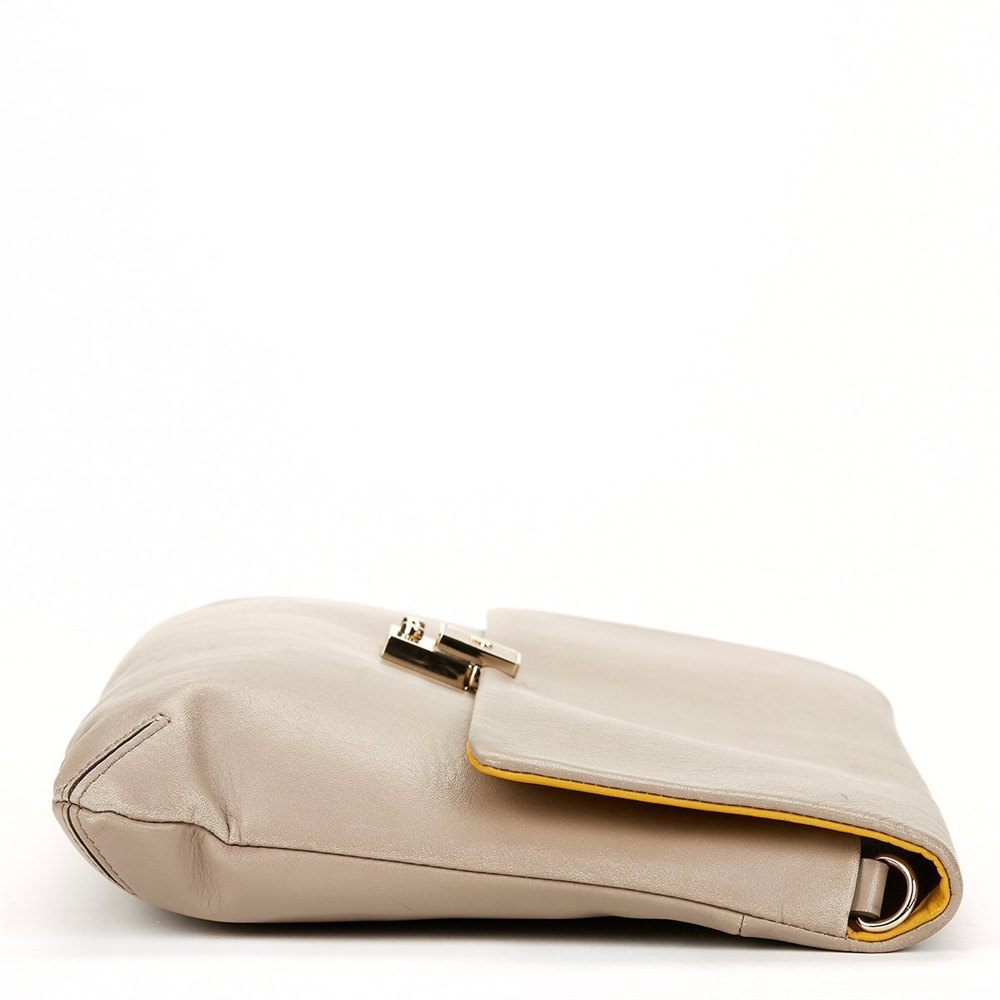 Anya Hindmarch Mustard & Grey Leather Clutch-on-Strap