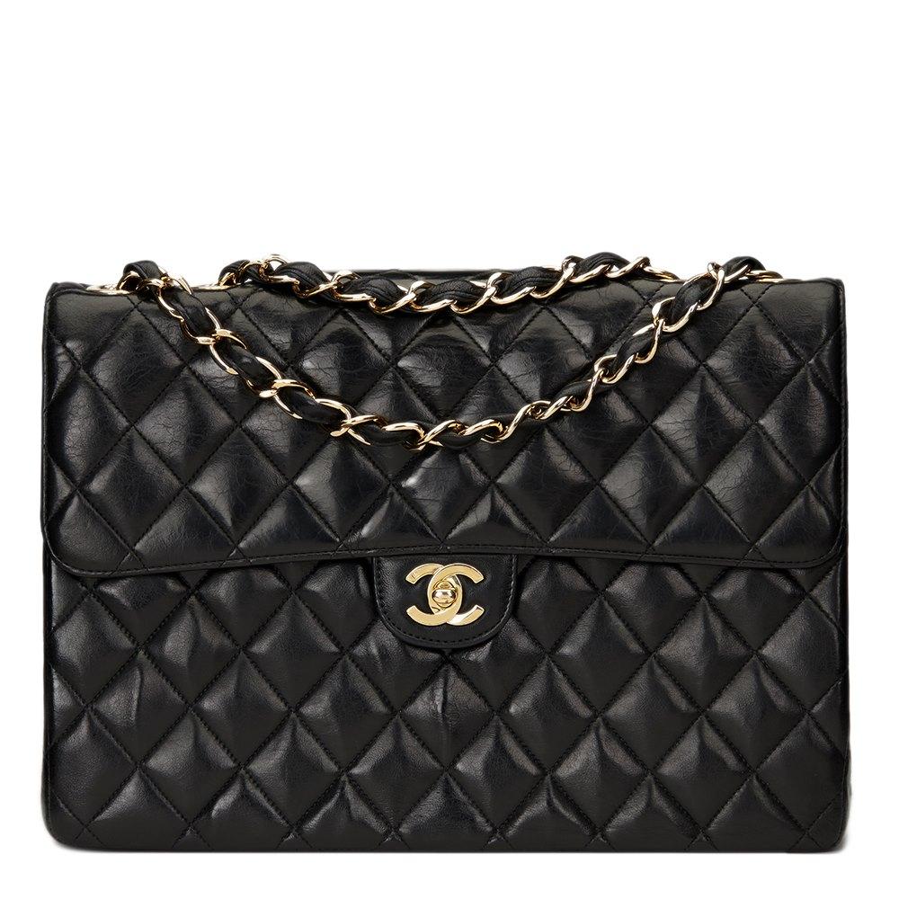 16e33837aa2c Chanel Black Quilted Lambskin Jumbo Classic Single Flap Bag