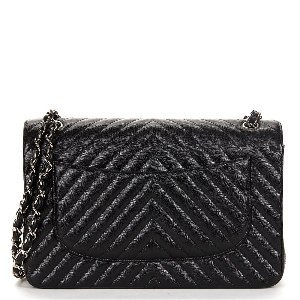 6330cb21f5b5 Chanel Black Chevron Quilted Caviar Leather Jumbo Classic Double Flap Bag