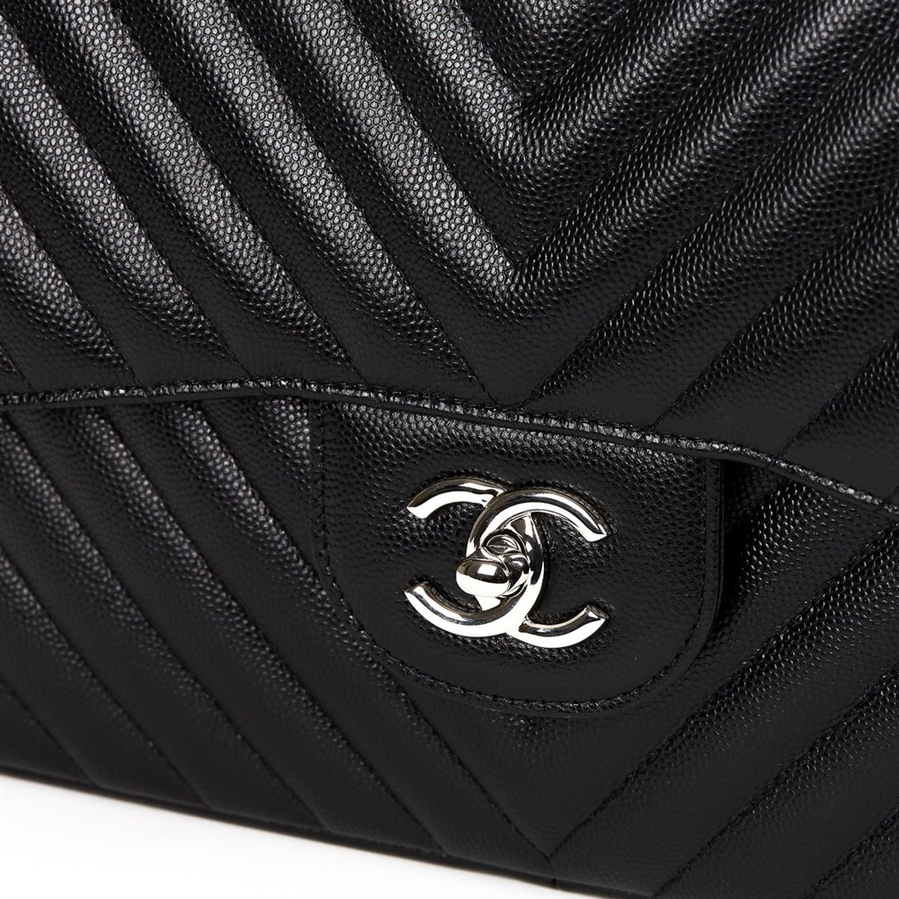 f798ff1f907753 Chanel Black Chevron Quilted Caviar Leather Jumbo Classic Double Flap Bag