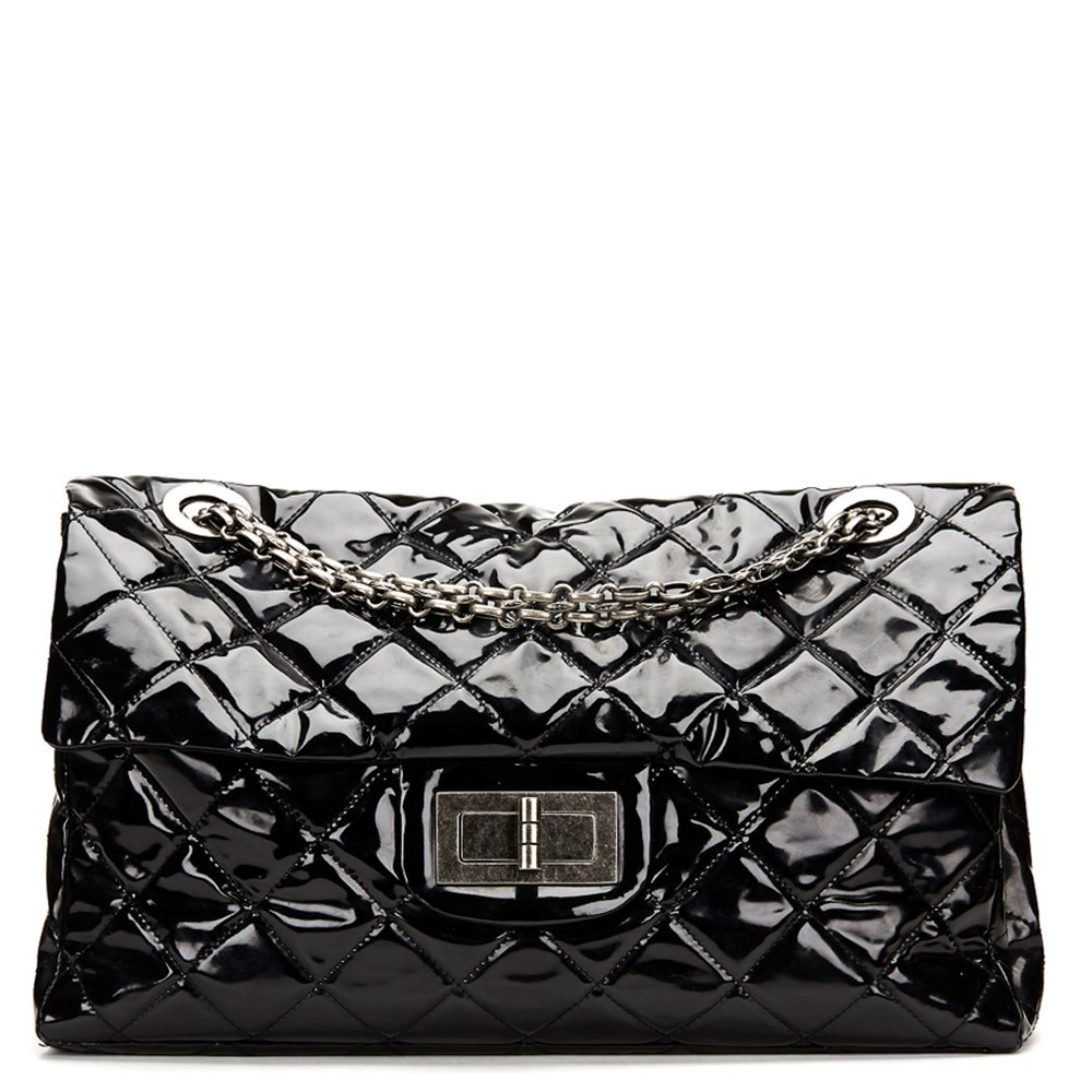 8bc132a58287 Chanel Black Quilted Patent Leather Super Maxi 2.55 Reissue Flap Bag