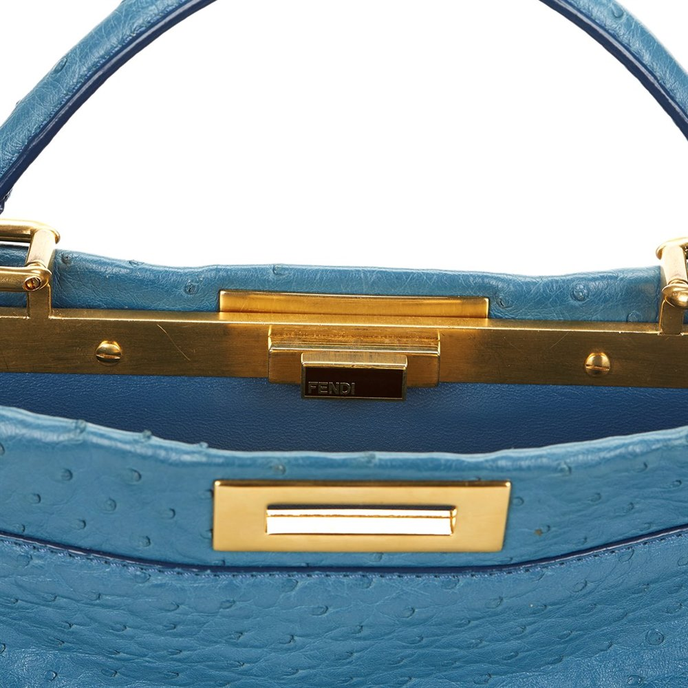 67a869f2fa32 Fendi Blue Ostrich Leather Small Peekaboo