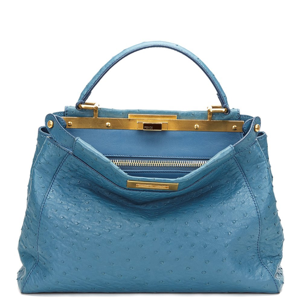 53ef655c4df0 Fendi Blue Ostrich Leather Small Peekaboo