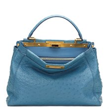 Fendi Blue Ostrich Leather Small Peekaboo