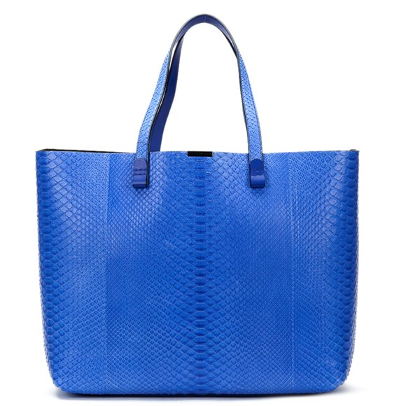 Victoria Beckham Peacock Blue Python Leather Simple Shopper