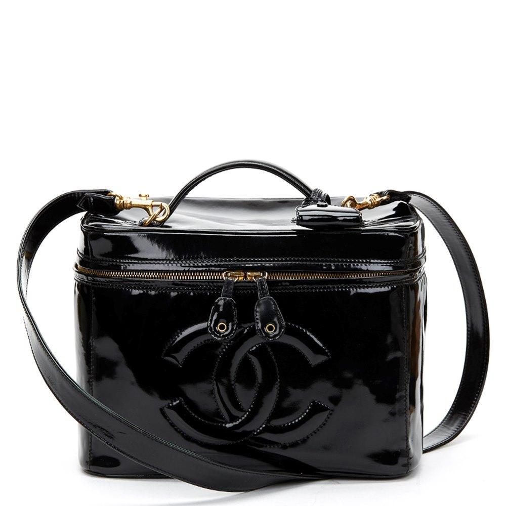 49e5f439aff3 Chanel Black Patent Leather Vintage Timeless 2 Way Vanity Case