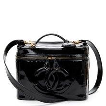 Chanel Black Patent Leather Vintage Timeless 2 Way Vanity Case