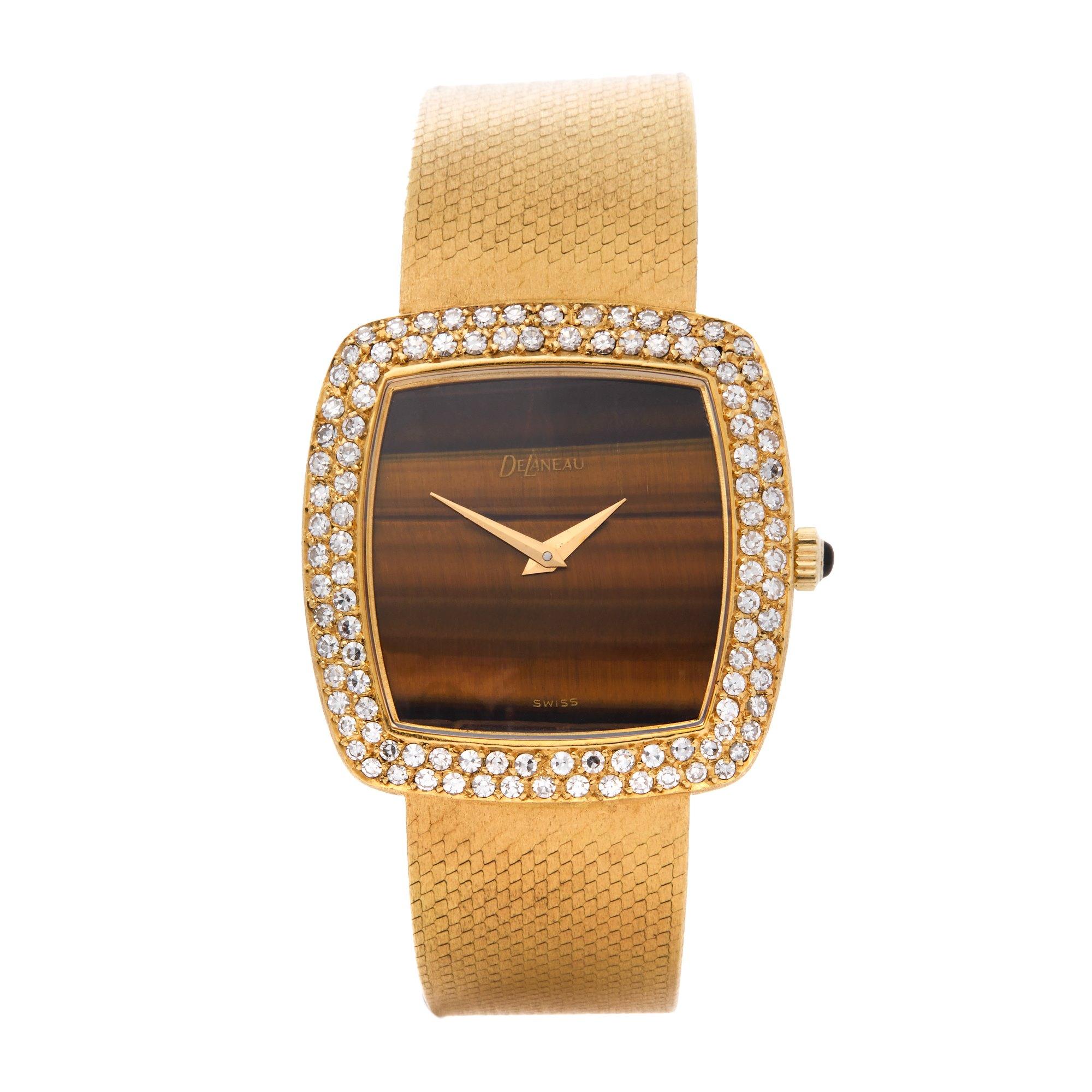 Delaneau Vintage Tiger-Eye Diamond 18K Yellow Gold N/A