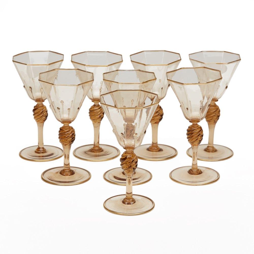 Eight Murano Wine Glasses 1925 Circa 1925