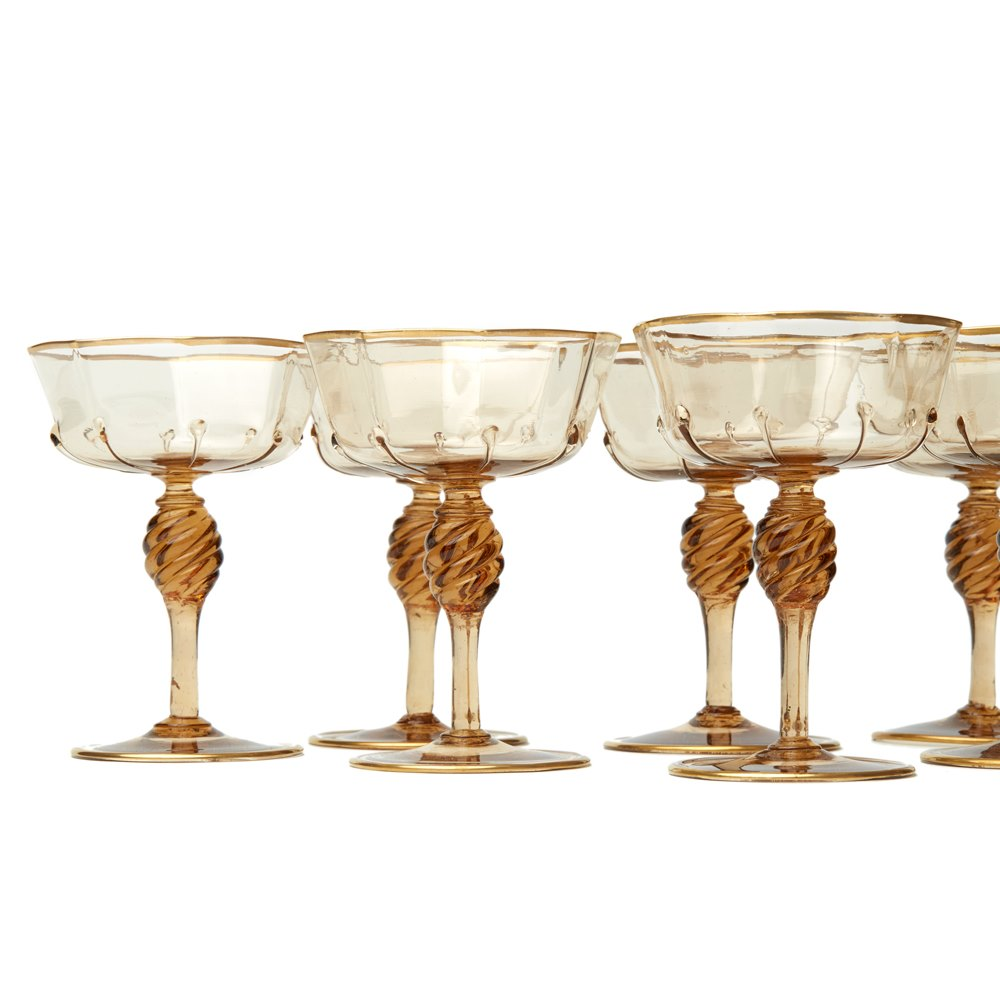 Eight Murano Champagne Glasses 1925 Circa 1925