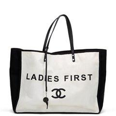 Chanel Black & White Canvas Ladies First Shopper Tote