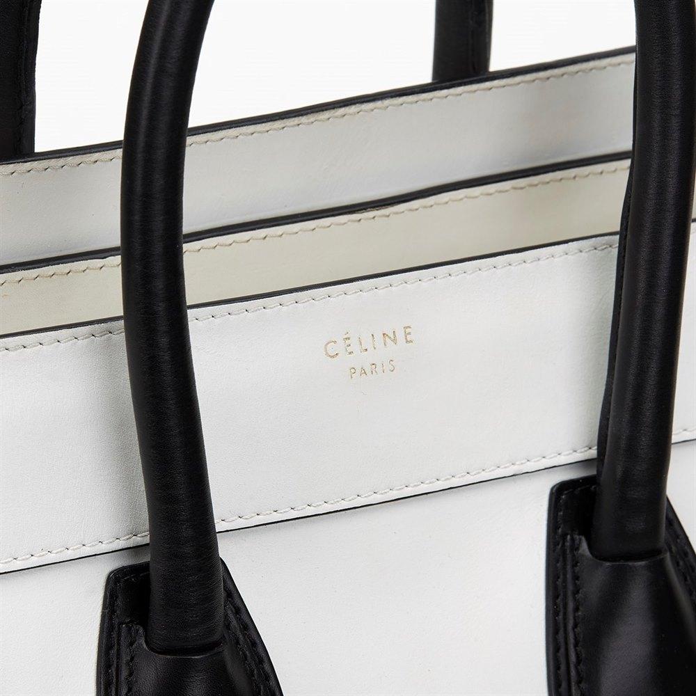 91054692d68d Céline White   Black Smooth Leather Mini Luggage Tote
