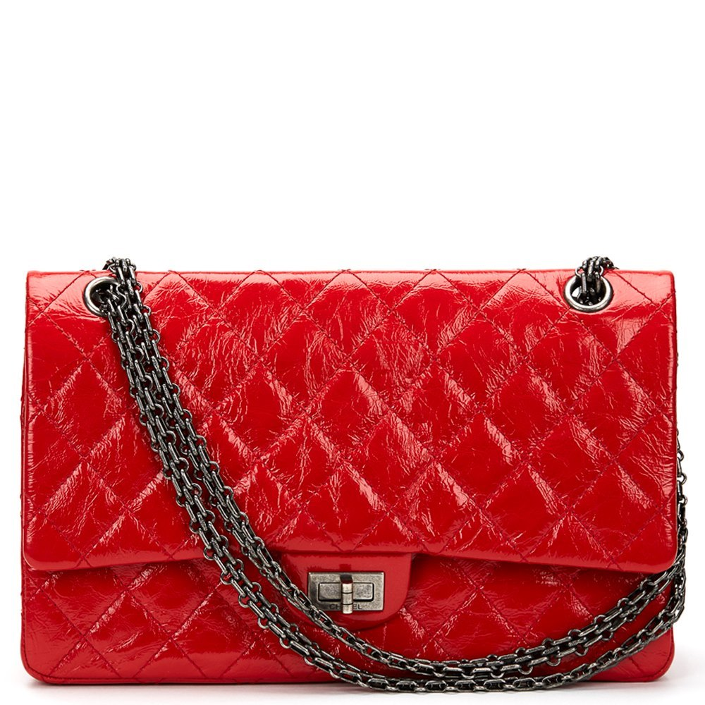 a6349b8d721c Chanel Red Aged Patent Leather 2.55 Reissue 226 Double Flap Bag