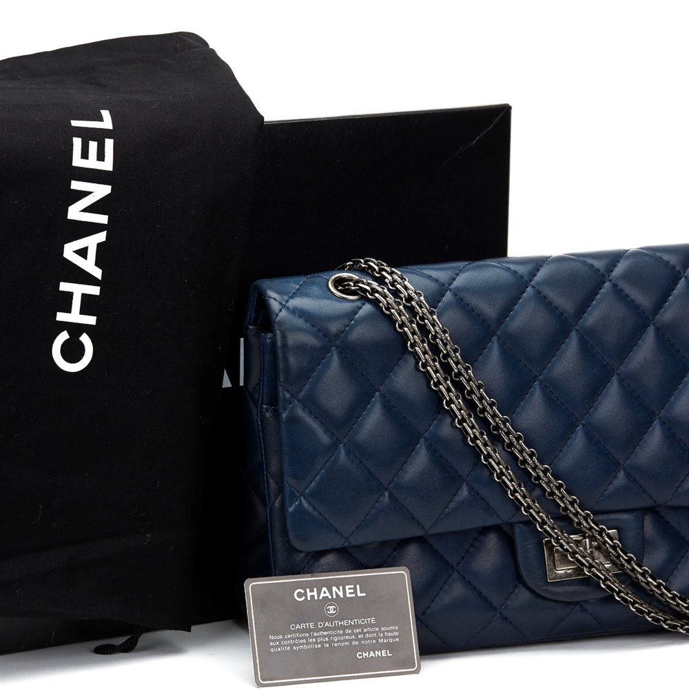 a875ad791127 Chanel Navy Quilted Lambskin 2.55 Reissue 227 Double Flap Bag