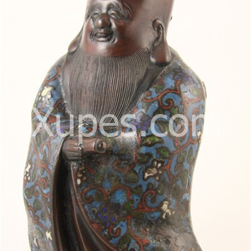 Chinese Bronze & Enamel Budha Figure 17th Century