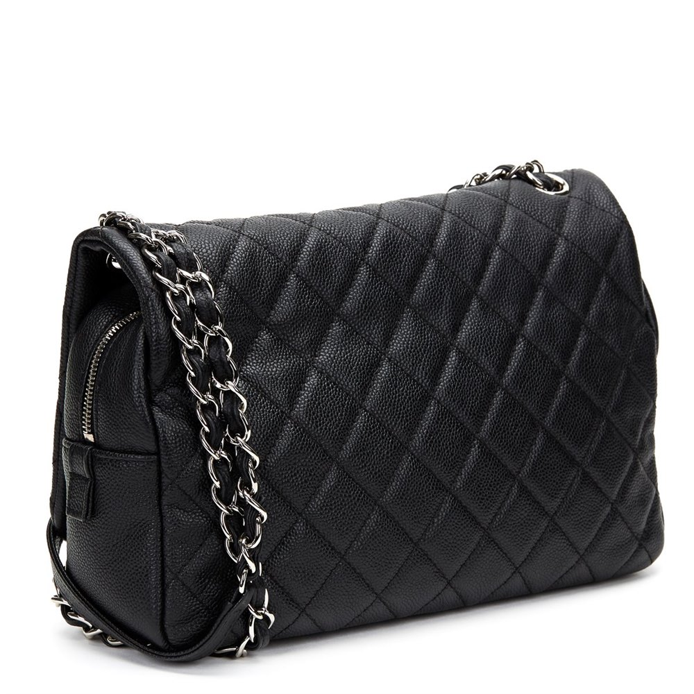 0ceaa7626094 Chanel Black Quilted Washed Caviar Leather Jumbo Easy Carry Flap Bag