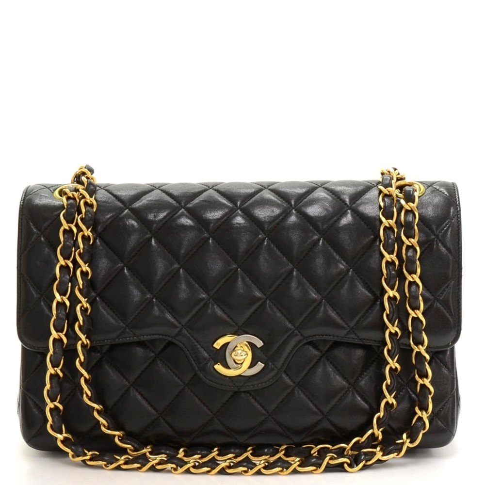 70e52a8c983a8e Chanel Black Quilted Lambskin Vintage Limited Edition Medium Classic Double  Flap Bag