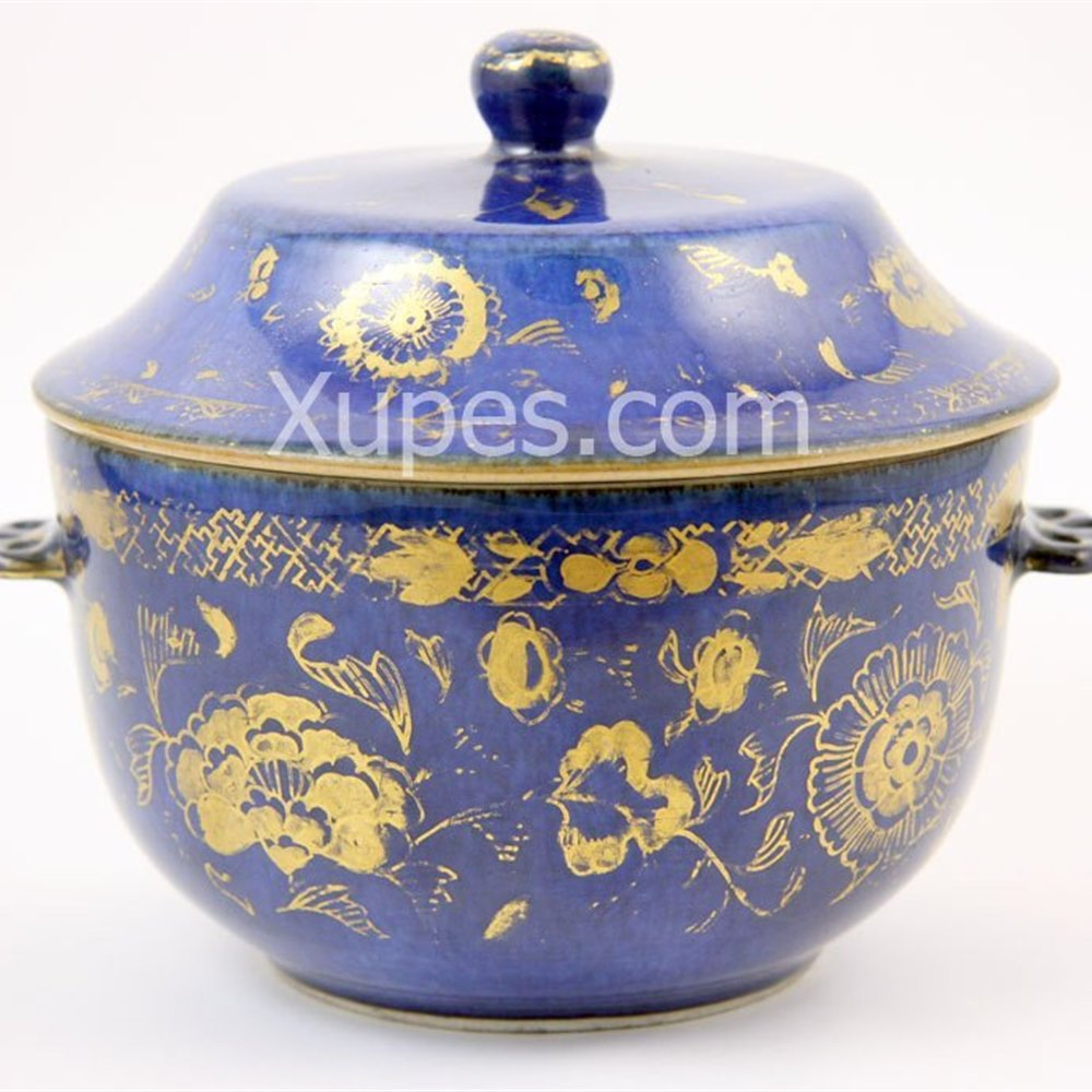 Powder Blue Lidded Bowl Kangxi period 1662 - 1722
