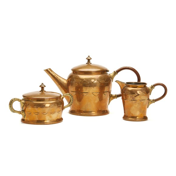 WMF JUGENDSTIL STYLISH BRASS THREE PIECE TEA SET c.1900